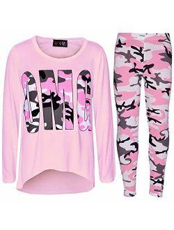 Girls Top Kids Designer's OMG Camouflage Print Shirt Tops & Legging Set 7-13 Yr