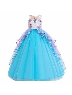 MYRISAM Girl's Unicorn Rainbow Long Tulle Dress Wedding Birthday Princess Carnival Party Performance Dance Pageant Ball Gowns
