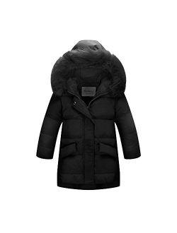 Ding Dong Kid Girl Winter Hooded Fur Down Parka Coat