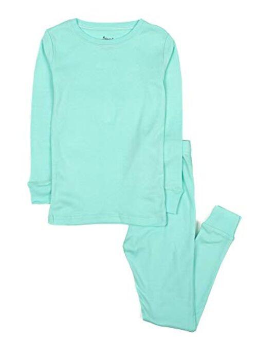 Leveret Kids Pajamas Boys & Girls Solid Colors 2 Piece Pajama Set 100% Cotton (Size 2-14 Years)