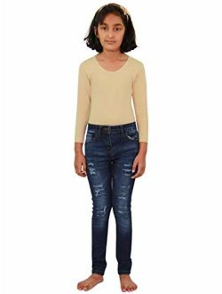 Kids Girls Skinny Jeans Denim Ripped Fashion Stretchy Pants Jeggings 3-14 Years