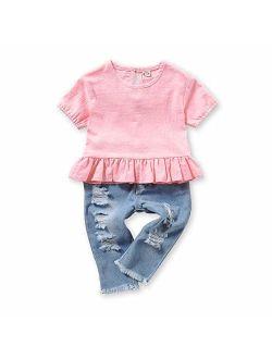 Mikrdoo 2 Pcs Toddler Girl Summer Outfits Floral Shirt Tops + Ripped Denim Shorts Summer Clothes Set