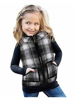 Girls Buffalo Cotton Plaid Quilted Vest Cute Puff Lined Gilet