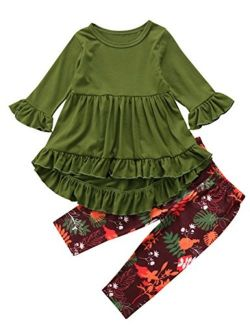 Toddler Little Girls Hi Lo Ruffle Flare Tunic Dress Top Floral Leggings Pants Outfit Set
