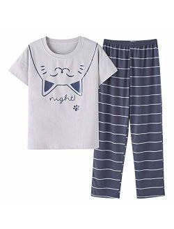 Big Girls Cute Pajama Set Cartoon Print Short Sleeve and Long Pants Pink Jammies Set for Size 12-18