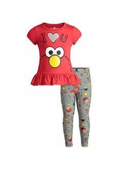 Sesame Street Elmo Girls Ruffle Tunic Shirt & Leggings Set, Baby/Toddler