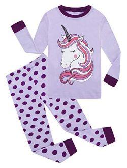 Little Girls Pajamas 100% Cotton Long Sleeve Pjs Toddler Clothes Kids Sleepwear Shirts