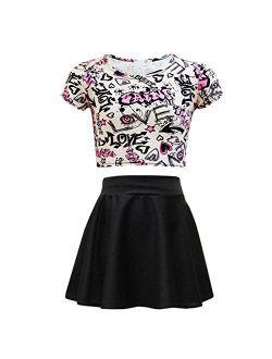 Kids Girls Love Graffiti Crop Top & Black Skater Skirt Set 7 8 9 10 11 12 13 Yr