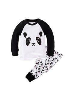Mammybaby Little Girls Panda Long Sleeved Pajamas Set Cotton DRG7463