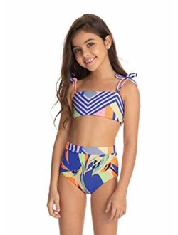 Girls Nylon Printed Adjustable Straps Bikini Set