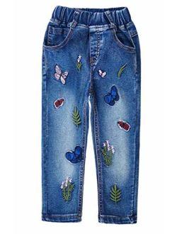 Kidscool Space Little Big Girls Embroidery Butterfly Grass Slim Jean Pants