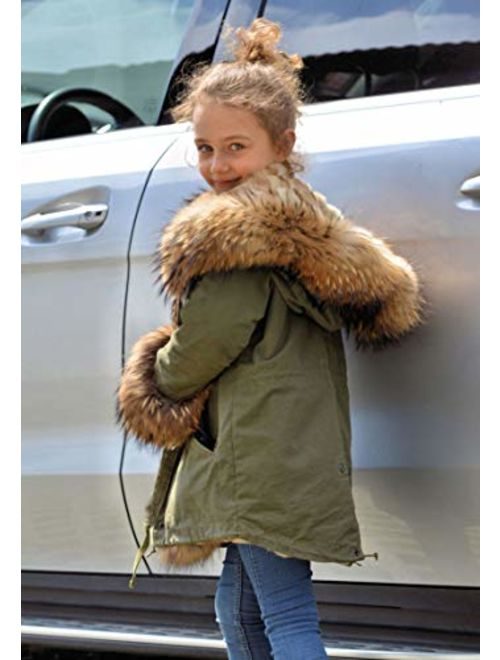 Aofur Kids Unisex Coat Winter Black Jacket Faux Fur Parka Casual Hooded Warm Trench Outwear Children Clothes for Girls Boys