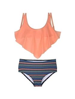 Girl's Bikini Set Crop Flounce Two Piece Swimsuits Kids Haler Bathing Suits