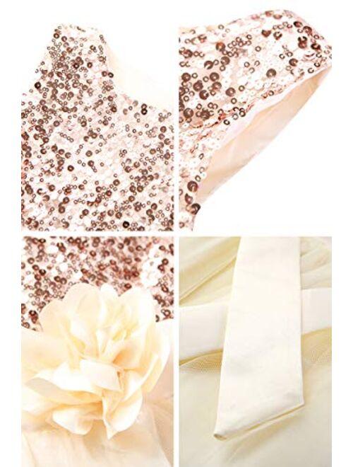 YMING Girls Flower Princess Tutu Party Dress Sequin Flare Lace Princess Dress
