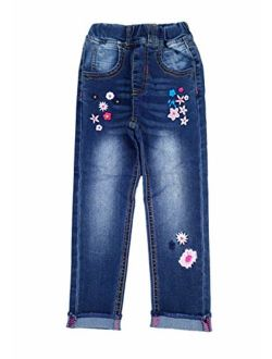 Kidscool Space Girls Embroiderd Small Flower Decor Slim Jeans Pants
