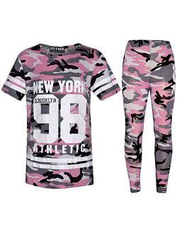 Girls New York Brooklyn 98 Athlectic Camouflage Print Top & Legging Set 7-13 Yr