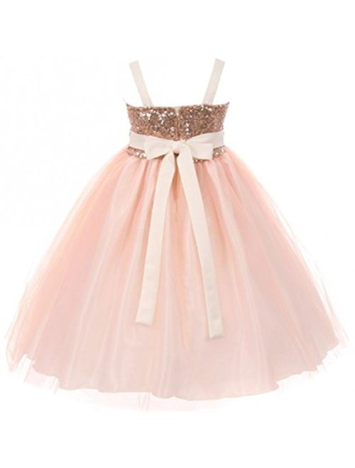 Girls Dress Sequins Ruffle Trim Layered Tulle Pageant Party Flower Girl Dress
