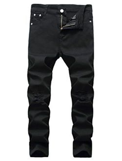 JeansNiu Boy's Skinny Ripped Jeans Destroyed Stretch Slim Distressed Pants