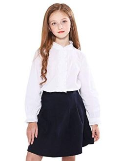 SOLOCOTE Girls White Blouse Ruffle Long Sleeve Button Down Shirts Princess Cotton Loose Soft Tops Spring and Summer 3-14Y