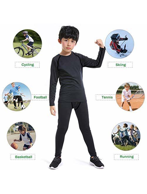 TERODACO Boys Compression Thermal Leggings & Shirts Athletic Base Layer Underwear Set for Hockey Training Basketball