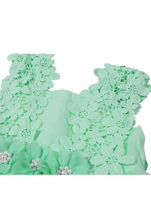 Baby Girls Sleeveless Lace Wedding Vintage Birthday Party Princess Flower Backless Dress