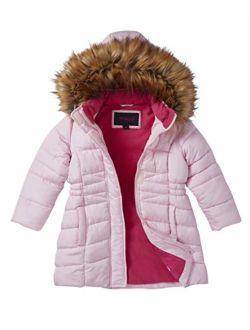 Girls' Midlength Quilted Fleece Lined Winter Puffer Jacket Coat Zip-Off Fur Hood-Light Pink (14/16)