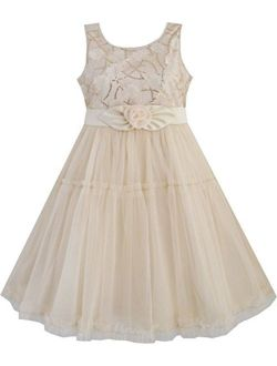Girls Dress Shinning Sequins Beige Tulle Layers Wedding Pageant