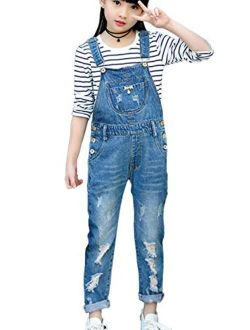 LAVIQK 3-14 Years Kids Big Girls Jumpsuits & Rompers Distressed Bib Denim Overalls Blue Long Jeans Stretchy Ripped Jeans