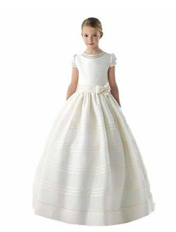 Graceprom Girls' First Communion Dress With Bow Flower Dress White