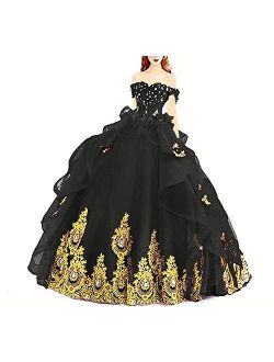 Modeldress Off Shoulder Tulle Prom Ball Gowns Princess Quinceanera Dresses