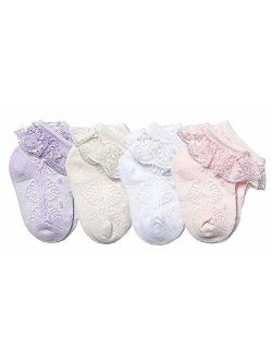 CHUNG Baby Toddler Girls Princess Cotton Frilly Socks Lace Ruffle Pack of 4/5/6 Thin Mesh Summer for Dress