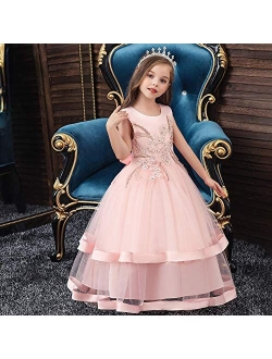 Girls Tulle Dresses 7-16 Flower Lace Pageant Party Wedding Floor Length Formal Dance Evening Gowns