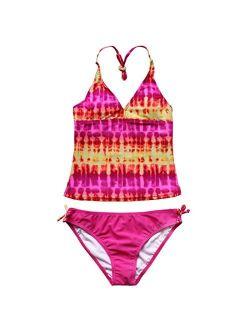 TiaoBug Girl's 2-Piece Tankini Set Summer Beach Holiday Hawaiian Halter Bikini Swimsuit Bathing Pool Swimming Costume