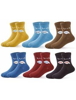 Boys Cotton Crew Socks Kids Seamless Toe Socks Colorful Athletic Quarter Socks
