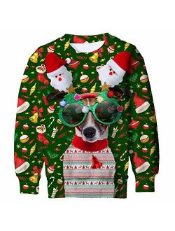 TUPOMAS Boys Girls Ugly Christmas Sweatshirts Funny Print Graphic Teen Pullover Long Sleeve Sweater Party Wear 4-16 Years Old