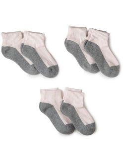 Jefferies Socks Girls' Big Sport Quarter Crew Socks Half Cushion 6 Pack