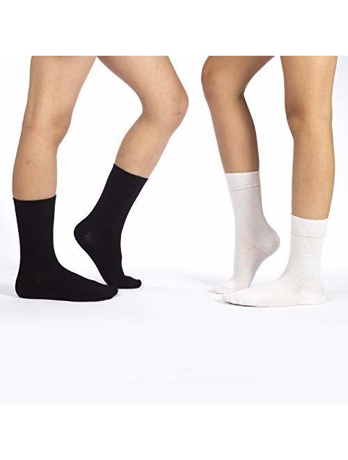 Hugh Ugoli Kids Bamboo School Socks   Crew School Socks for Girls & Boys, Comfort Seam, 5 Pairs