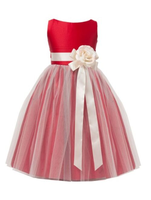 Baby Toddler Flower Girl Vintage Satin Tulle Special Occasion Dress - 11 Colors