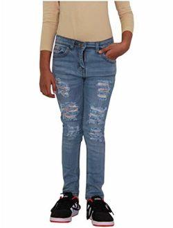 Kids Girls Skinny Jeans Denim Ripped Fashion Stretchy Mid Blue Pant Jegging 3-14
