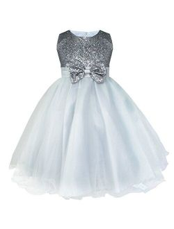 YiZYiF Kids Girls' Sequined Party Bridesmaid Flower Girl Dress Graduation Recital Gown