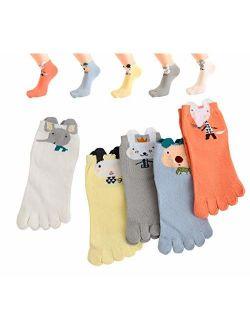 TESOON Cartoon Pattern Cotton Toe Socks Kids-Children 5 Pairs