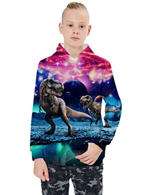 uideazone Boys Girls 3D Graphic Printed Sweatshirts Long Sleeve Cotton Pullover Hoodies with Pocket 3-16Y