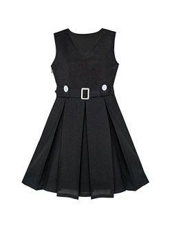 Girls Dress Khaki Button Back School Pleated Hem Size 6-14