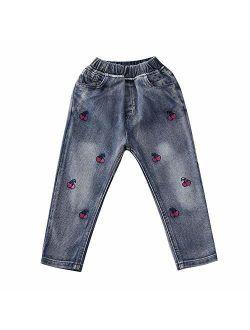 Toddler Little Kids Girls Elastic Waist Denim Jeans Bottom Pants Leggings Trousers
