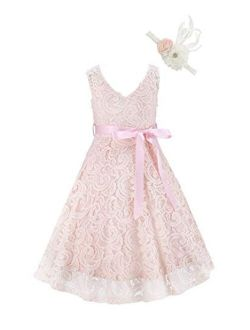 Bow Dream Lovely Lace V-Neck Sleeveless Flower Girl Dress