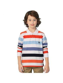Leo&Lily Boys' Long Sleeves Striped Cardigan Rugby Polo Shirt RED