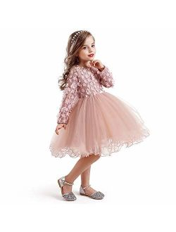 New Lace Flower Girl Dress Winter Long Sleeve Three-dimensional Petals Pompom Net Yarn Girls Clothes Size140 4-5 Years Pink#
