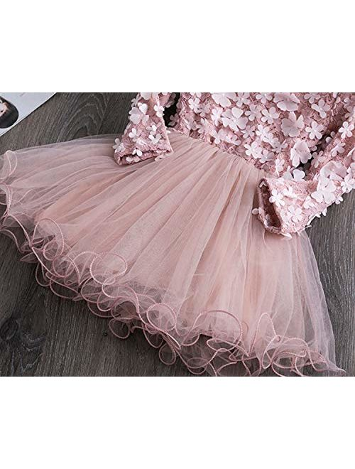 NNJXD New Lace Flower Girl Dress Winter Long Sleeve Three-Dimensional Petals Pompom Net Yarn Girls Clothes Size140 4-5 Years Pink#