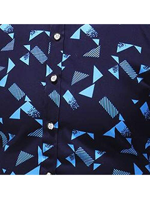 Misaky Camisas para Hombre Casual Print Buttons Lapels Short Sleeve Shirt Top Blouse