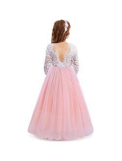 Flower Girls Vintage Lace Wedding Maxi Dress Floor Length Bridesmaid Party Long Pageant Princess Communion Boho Dance Gown